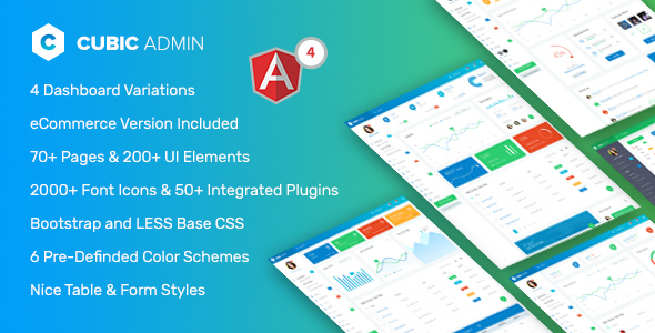 Image of Cubic - Angular 4 Admin Template with Multiple Dashboard
