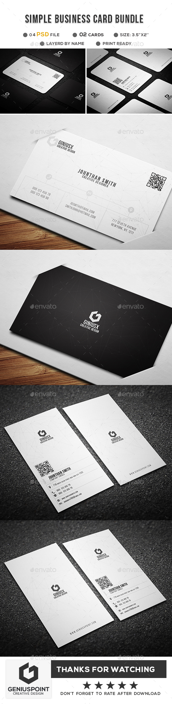 GraphicRiver Simple Business Card Bundle 20960473