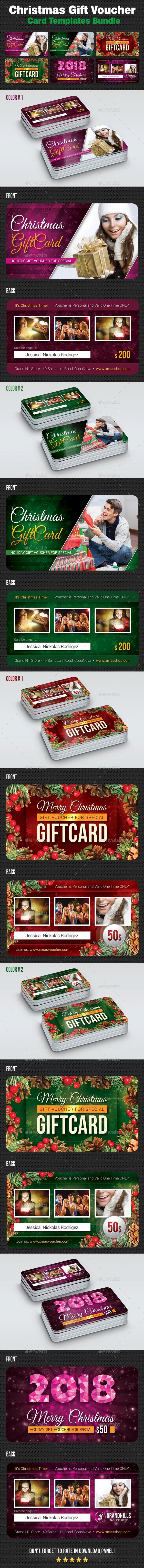 GraphicRiver Christmas Gift Voucher Card Bundle 20960480