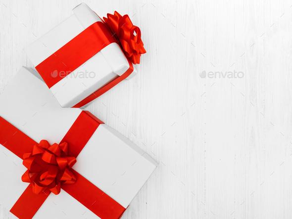White gift boxes background  - Stock Photo - Images