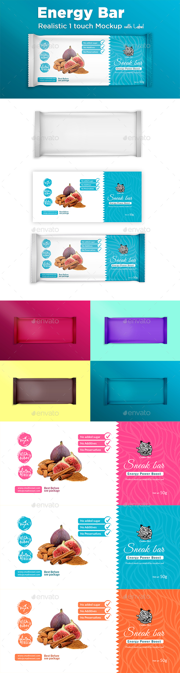 Energy Bar Label and Mockup - Food and Drink Packaging