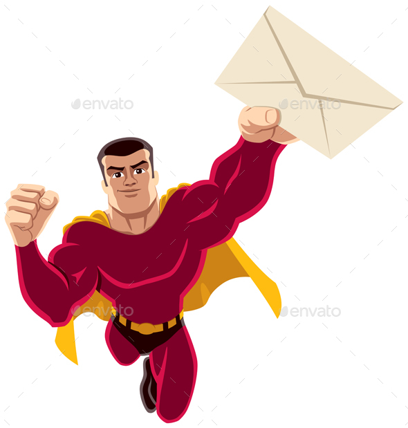 GraphicRiver Superhero Flying Envelope 20960609