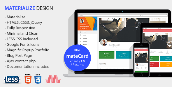 ThemeForest mateCard Materialize vCard CV Resume HTML Template 20883640