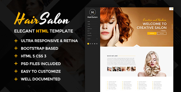 Hair Salon - Elegant HTML Template
