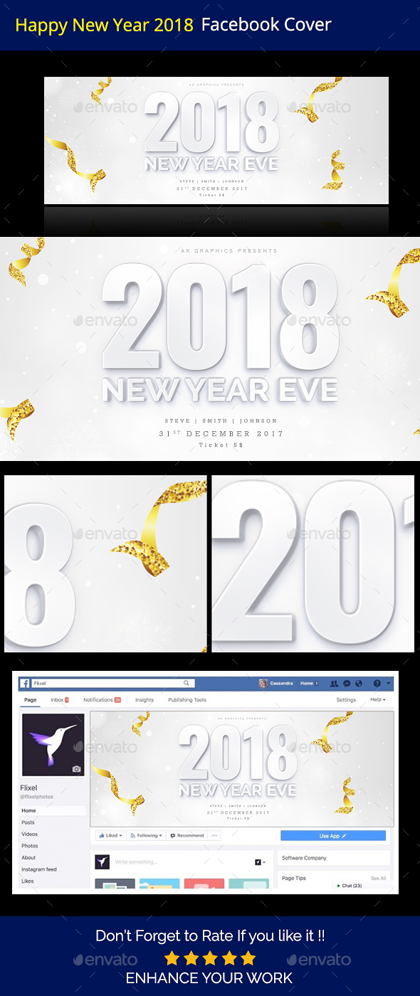 GraphicRiver Happy New Year 2018 Facebook Timeline Cover 20944008