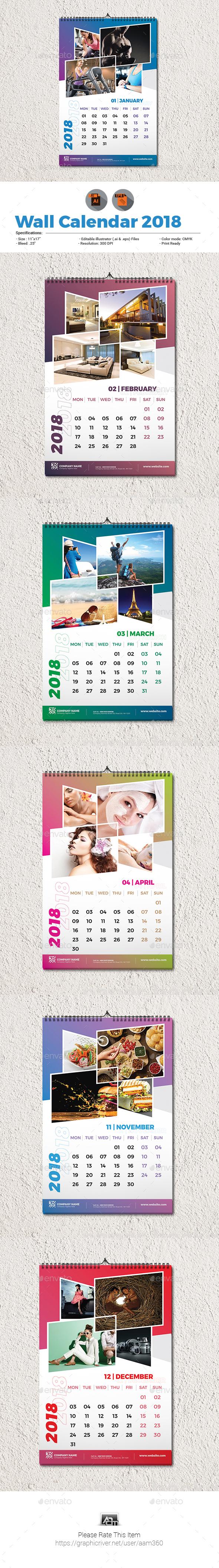 Wall Calendar 2018 Template - Calendars Stationery