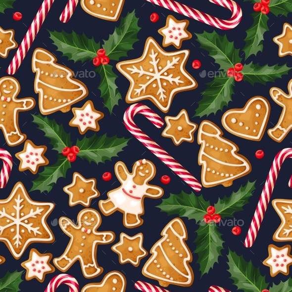 Winter Seamless Patterns with Gingerbread Cookies - Christmas Seasons/Holidays
