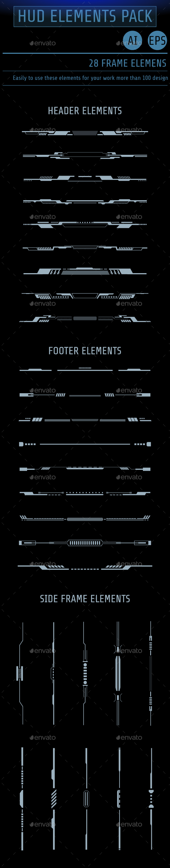HUD Futuristic User Screen Interface Element Set - Abstract Conceptual