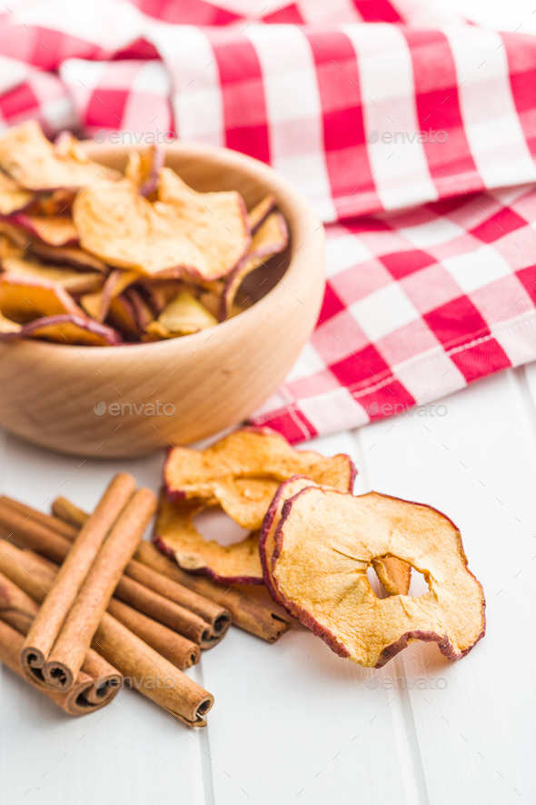 Dried apple slices and cinnamon. - Stock Photo - Images
