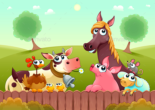 GraphicRiver Farm Animals Smiling Near the Fence 20961407