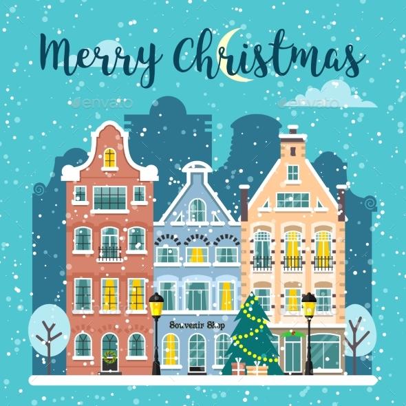 GraphicRiver Winter Christmas City Street Vector Landscape 20961501