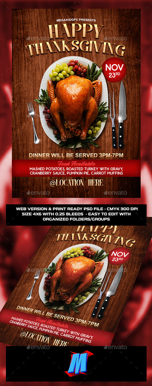 Happy Thanksgiving Flyer Template - Clubs & Parties Events