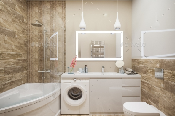 3d Illustration of the Interior of the Bathroom - Architecture 3D Renders