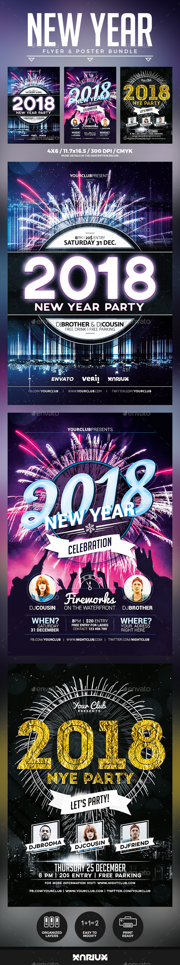 New Year Flyer and Poster Bundle - Events Flyers