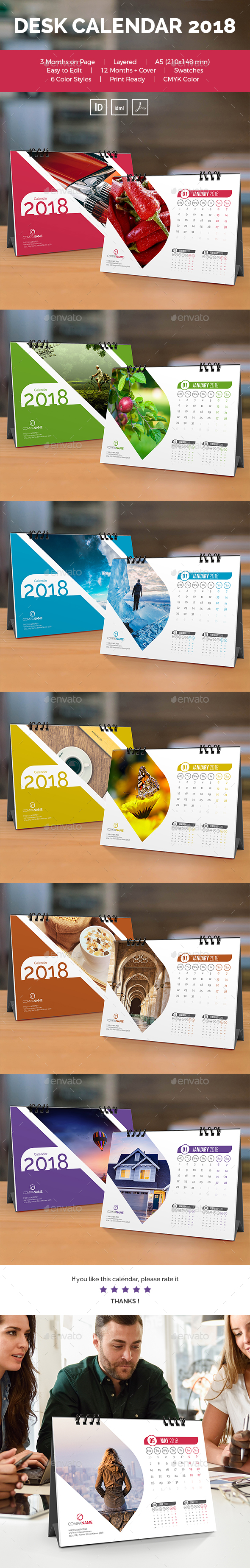 GraphicRiver Desk Calendar 2018 20961989