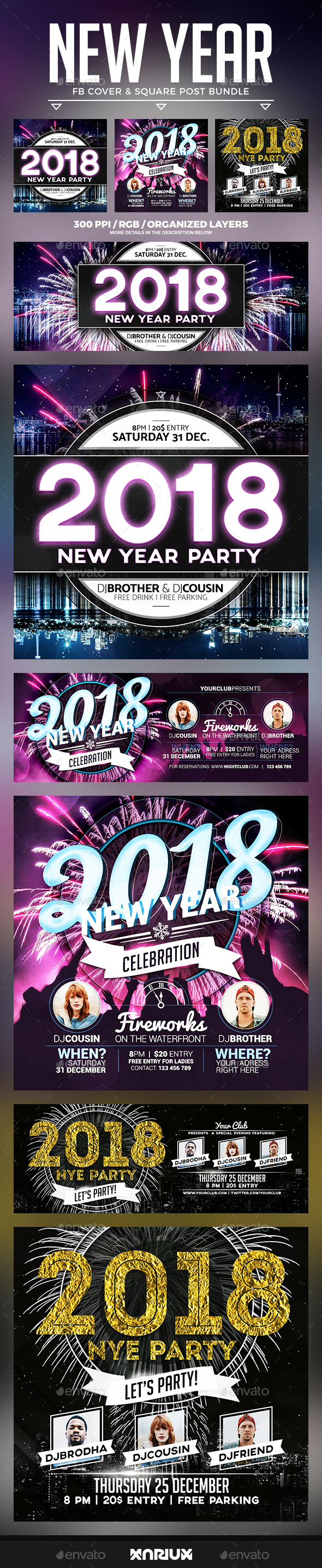 New Year Facebook Cover Bundle - Social Media Web Elements