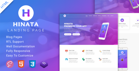 Hinata | App Landing Page            nulled