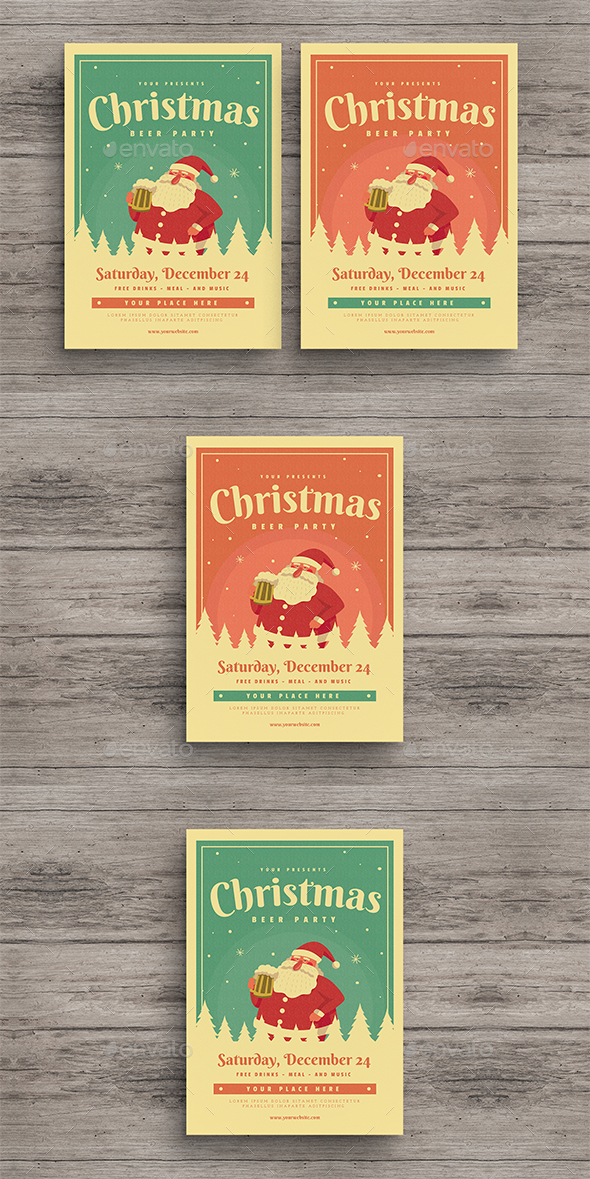 GraphicRiver Christmas Beer Party Flyer 20962052
