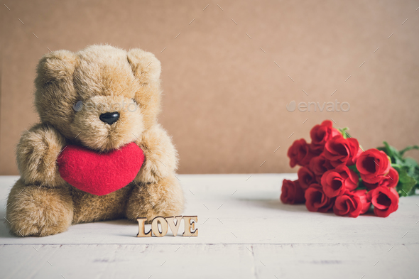 """Red heart shape with word """"love"""" and red rose - Stock Photo - Images"""