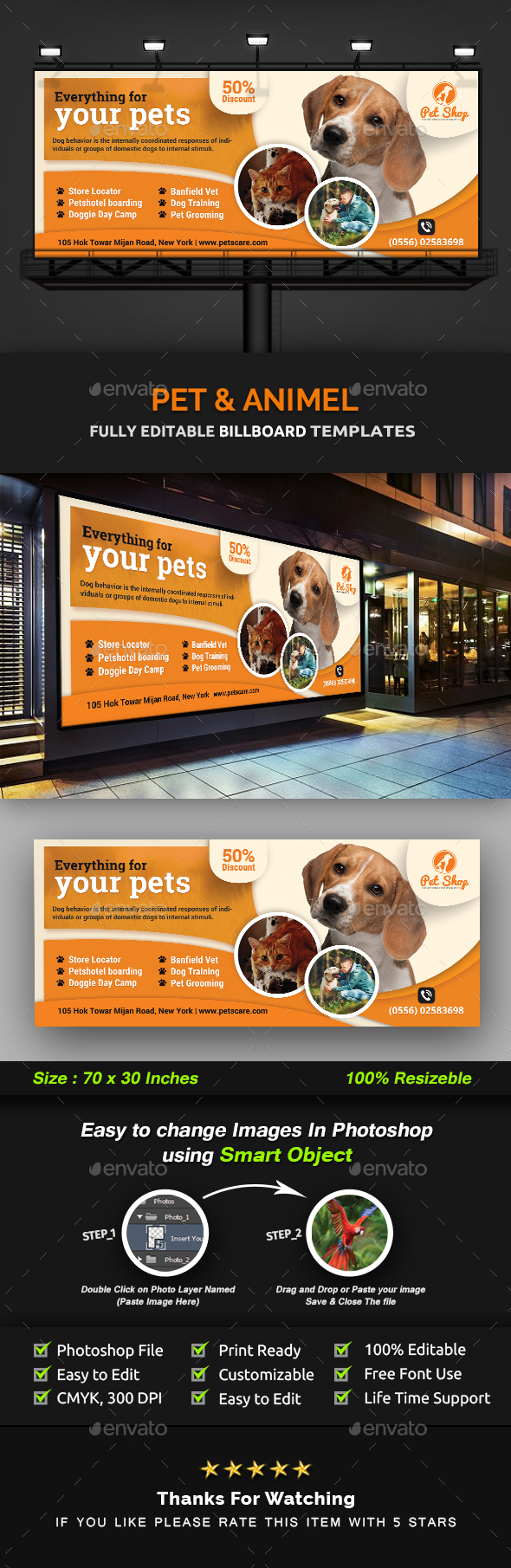 Pet Billboard | Animal Billboard Templates - Signage Print Templates