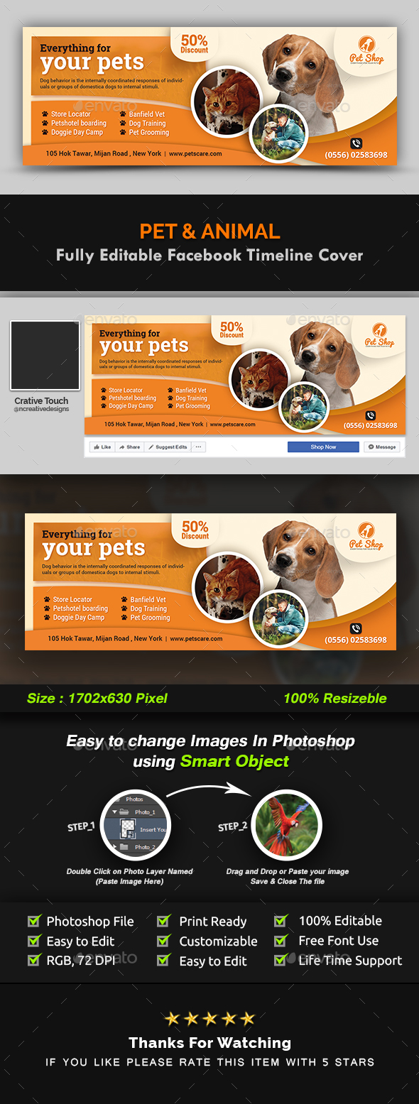 GraphicRiver Pet Facebook Timeline Cover Animal Facebook Timeline Cover Templates 20962109