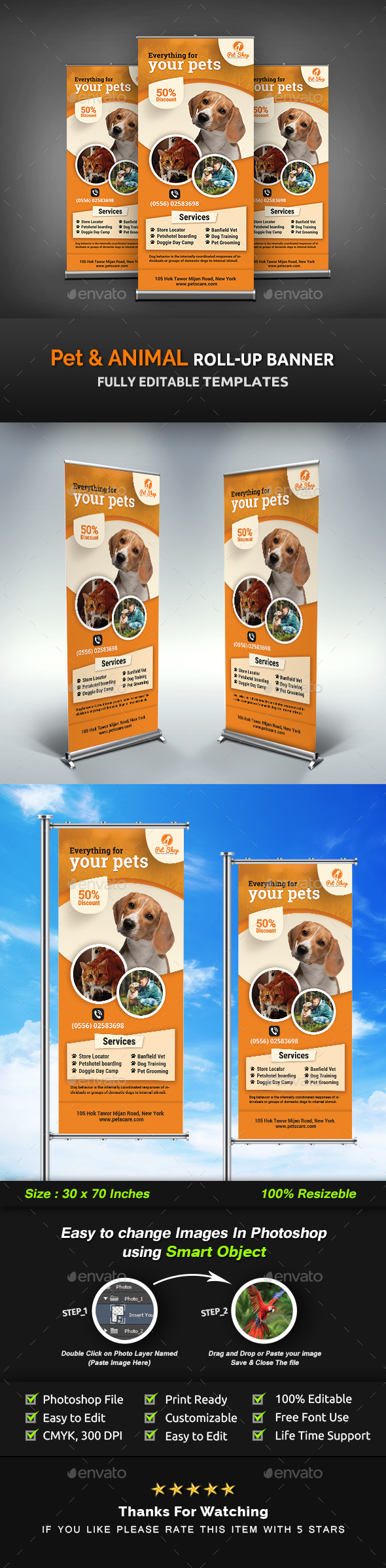 GraphicRiver Pet Roll-Up Banner Animal Roll-Up Banner Templates 20962120