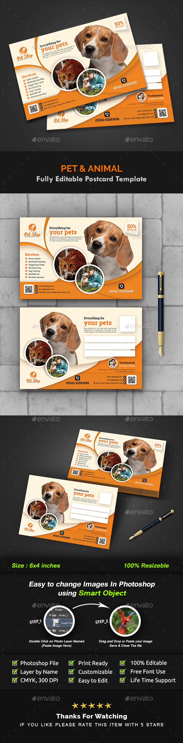 GraphicRiver Pet Postcard Animal Postcard Templates 20962121