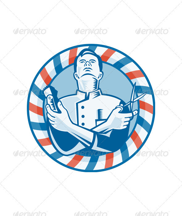 Barber With Clipper Hair Cutter and Scissors by patrimonio ...