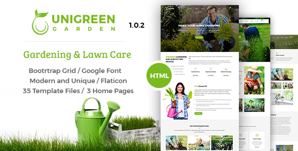 Image of Unigreen - Gardening and Lawn Care Service HTML Template