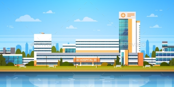 City Landscape With Hospital Building Exterior - Health/Medicine Conceptual