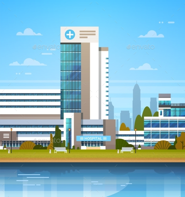 GraphicRiver Building Of Modern Hospital Clinic Exterior 20962540