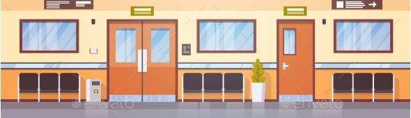 Empty Hospital Corridor Clinic Hallway Interior - Health/Medicine Conceptual