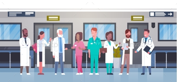 GraphicRiver Group Of Doctors In Hospital Corridor Diverse 20962576
