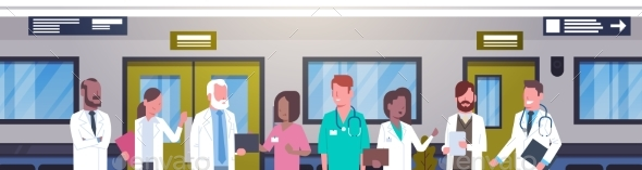 Group Of Doctors In Hospital Corridor Horizontal - Health/Medicine Conceptual