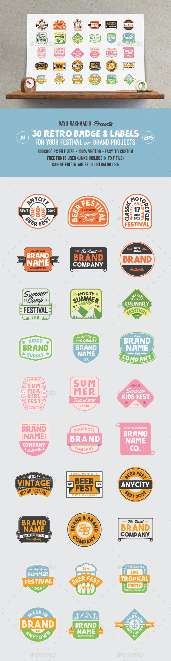 GraphicRiver 30 Retro Cute Badge Label 20962612