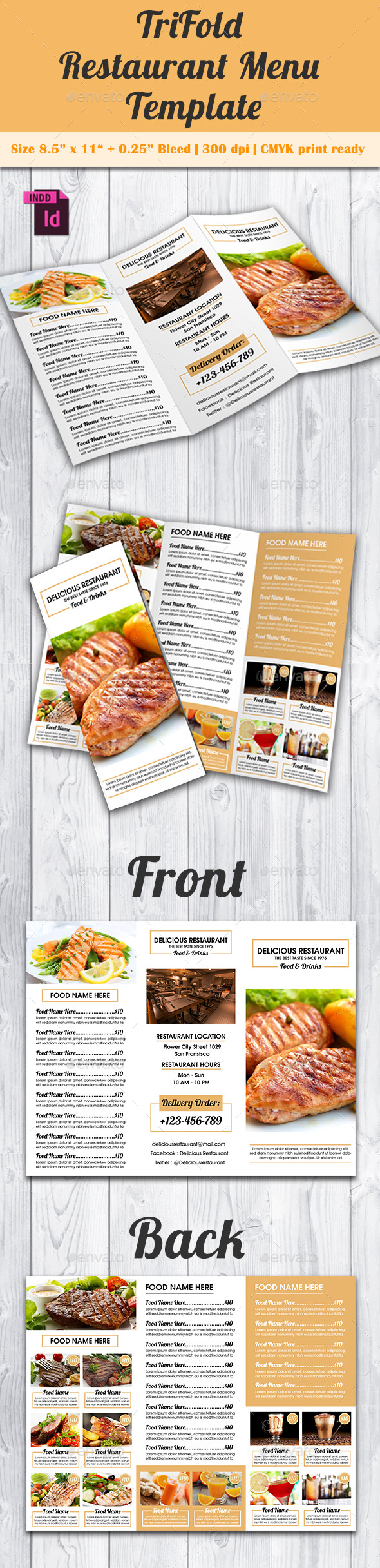 TriFold Restaurant Menu Template Vol By Avindaputri GraphicRiver - Delivery menu template