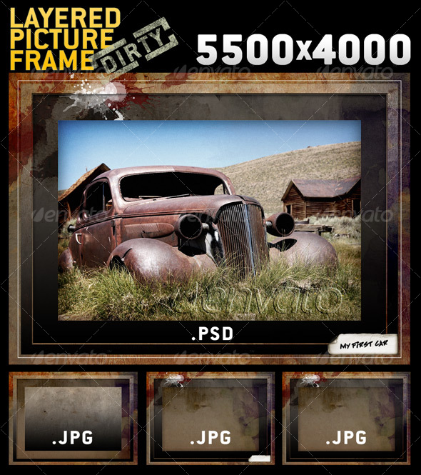 BIG Layered Dirty Picture Frame Template - Miscellaneous Photo Templates
