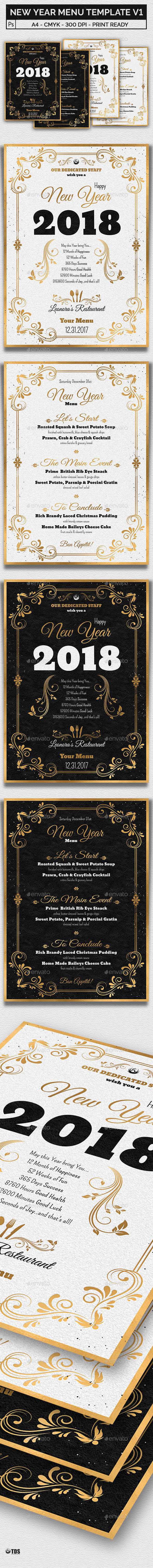 New Year Menu Template V1 by lou606 | GraphicRiver