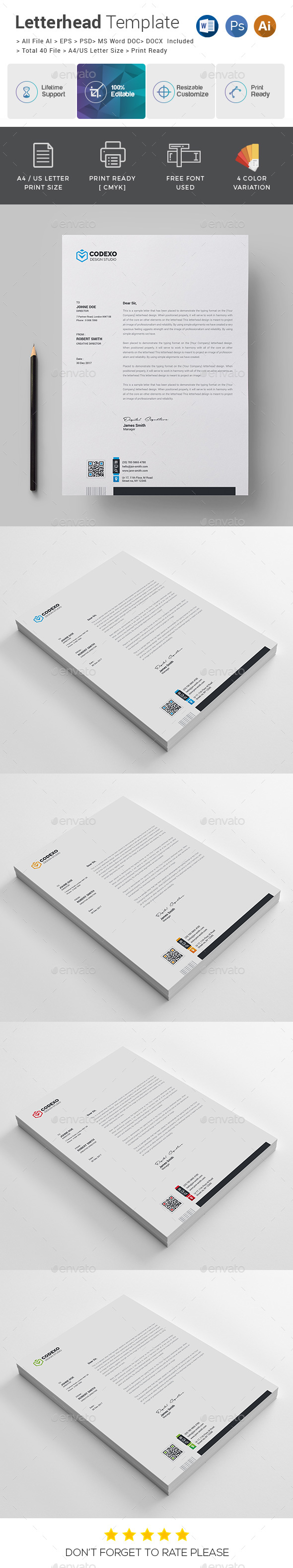Letterhead template by generousart graphicriver letterhead template stationery print templates spiritdancerdesigns Choice Image