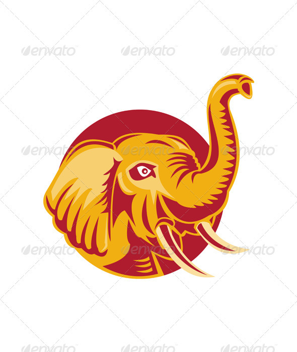 Angry African Elephant Head Retro - Animals Characters