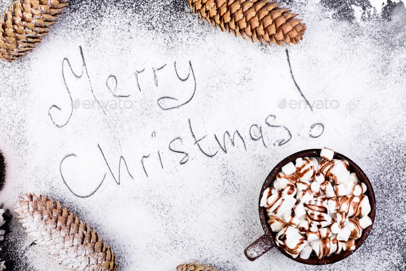 Merry Christmas Text on Snow.  - Stock Photo - Images