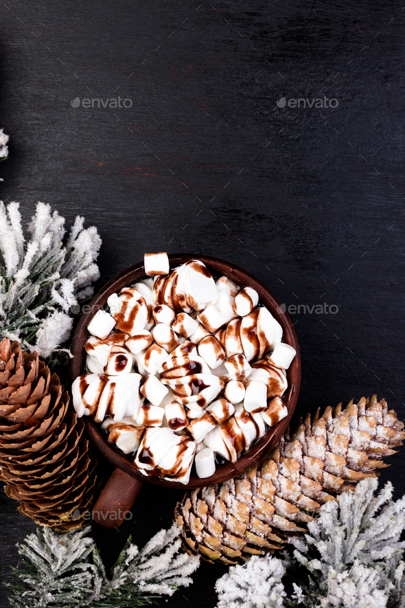 Christmas Food Sweet Marshmallow with Chocolate in Brown Cup on Black Background. Flat Lay - Stock Photo - Images