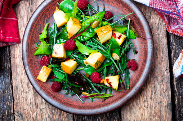 Warm pumpkin salad with raspberries - Stock Photo - Images