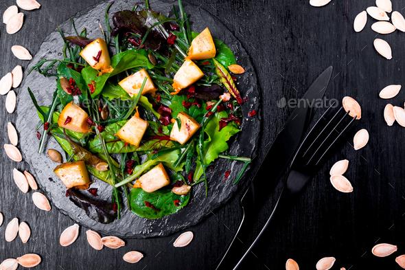 Warm pumpkin salad with raspberries - Stock Photo - Images