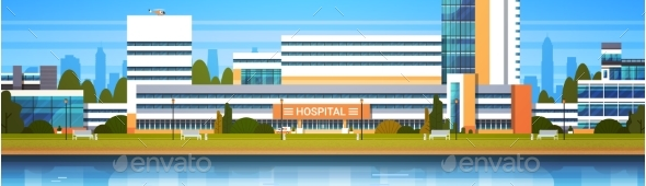 GraphicRiver Hospital Building Exterior Modern Clinic View 20963420
