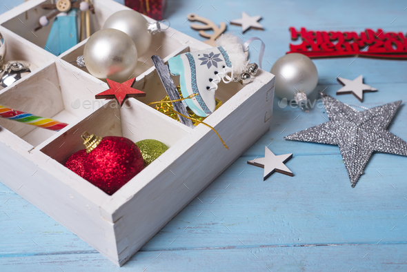 Christmas toys in a wooden box. - Stock Photo - Images