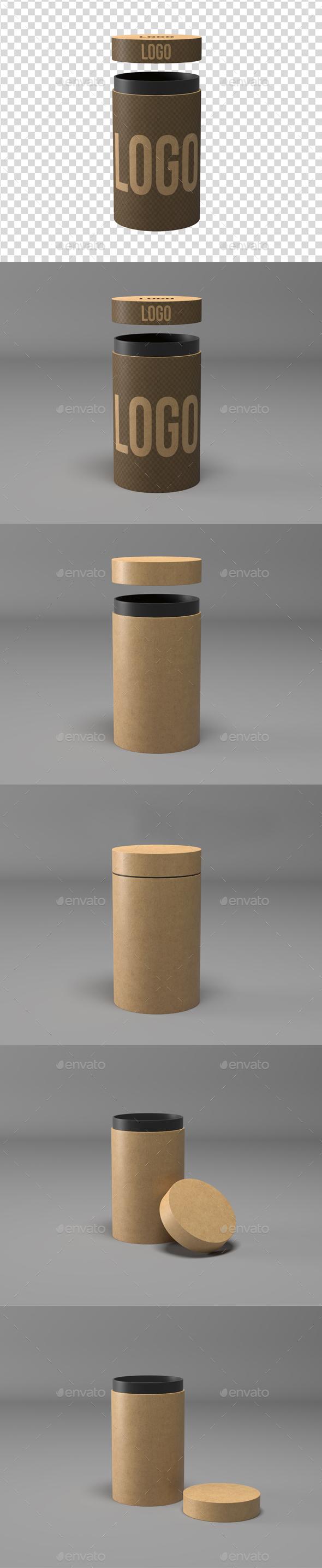 Kraft Cylinder Mockup - Product Mock-Ups Graphics