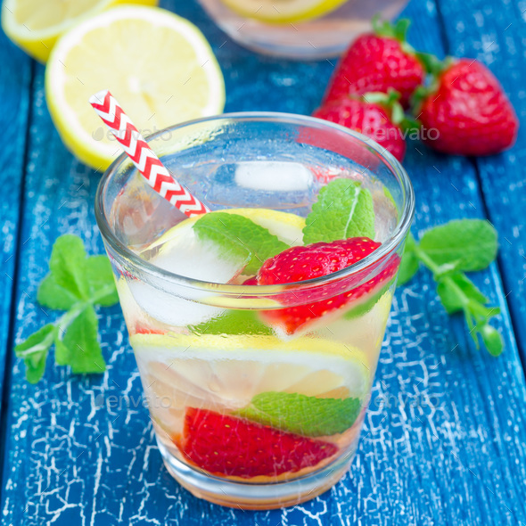 Strawberry mint homemade lemonade on wooden table, square format - Stock Photo - Images
