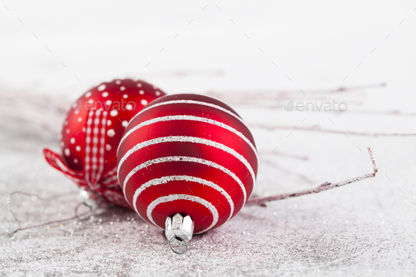 Closeup on red Chrismas decorations - Stock Photo - Images