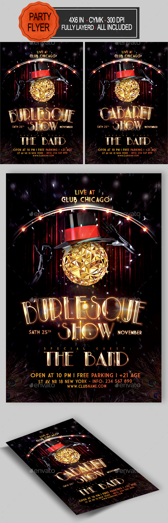GraphicRiver Burlesque and Cabaret Flyer 20963743